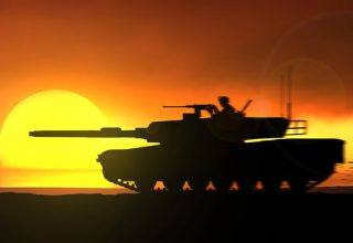 Tank in sunset - Keokuk Steel Castings, Keokuk, Iowa